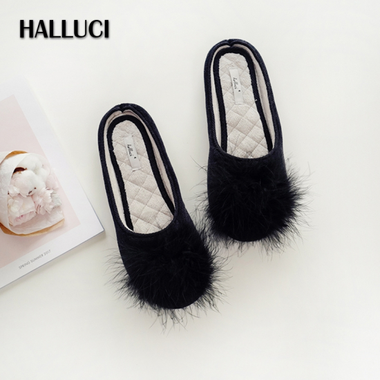 """Женские домашние тапочки H1510""""Fluff black"""" черный,Halluci,Китай"""